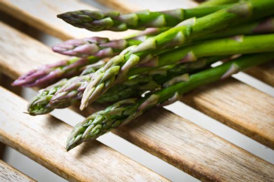 Asparagus on a wooden table